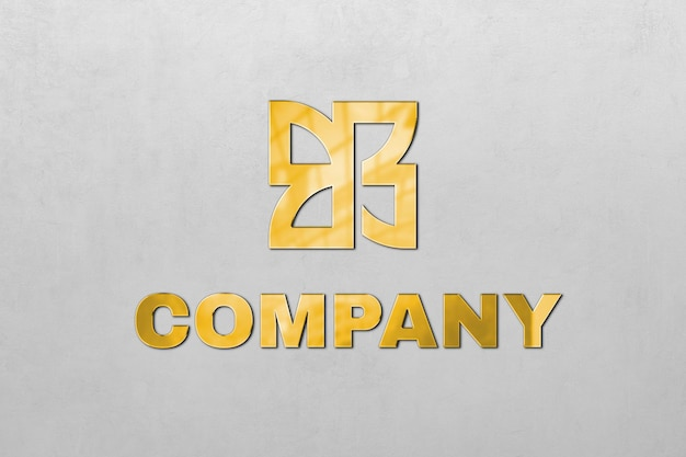 Płaskorzeźba logo psd w kolorze złotym dla firmy z hasłem tutaj tekst