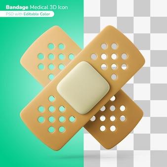 Plaster medyczny bandaż 3d ilustracja ikona 3d edytowalny kolor na białym tle