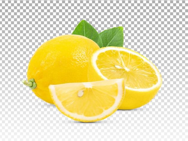 Plasterki cytryny i cytryny na białym tle