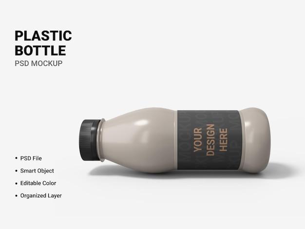 Plastikowa butelka makieta projekt na białym tle