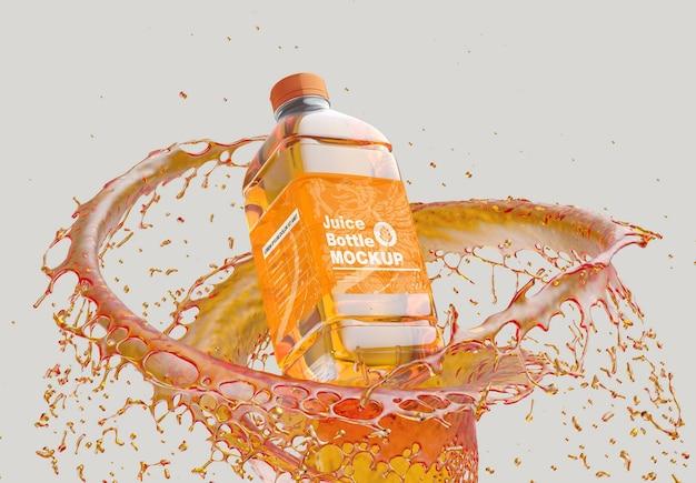 Plastikowa butelka na sok z makietą splash