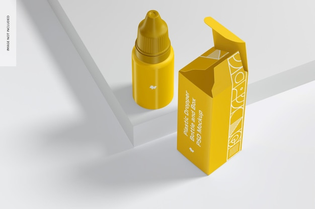 Plastikowa butelka z zakraplaczem i makieta pudełka, perspektywa