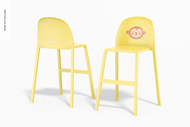 Plastikowe krzesełka dla dzieci makieta