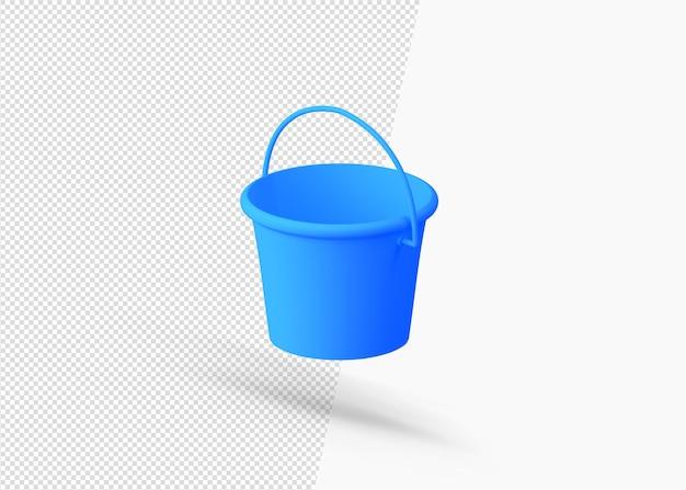 Plastikowe wiadro wody realistyczne 3d ikona