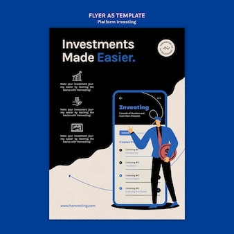 Platforma inwestująca szablon ulotki pionowej