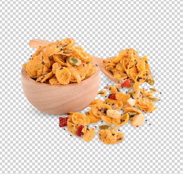 Płatki zbożowe z truskawkami i migdałami izolowana fasola premium psd