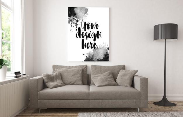 Płócienna makieta w minimalistycznym salonie