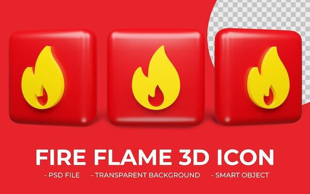 Płomień Ognia Lub Ogień Waring Ikona Renderowania 3d Na Białym Tle Premium Psd