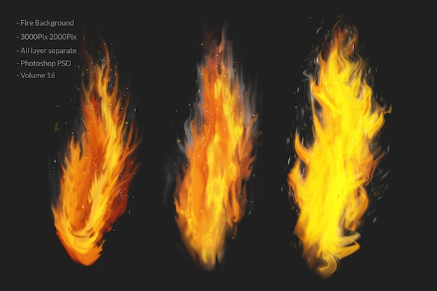 Płomień ognia z iskrami na czarno