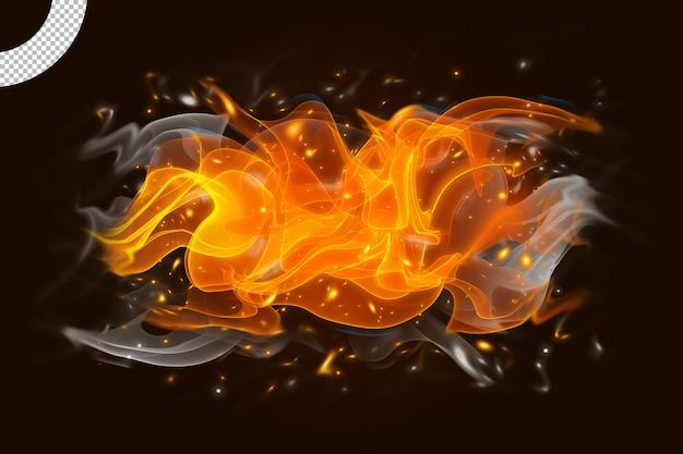 Płomienie ognia i dym na czarnym tle