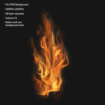 Płomienie ognia na przezroczystym tle