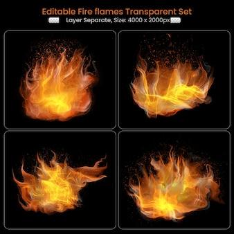 Płonące płomienie ognia z zestawem błyszczących, jasnych elementów