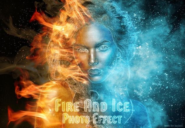 Płonący ogień i efekt mrożonego lodu makieta