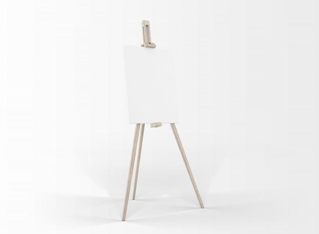 Płótno artystyczne w sztalugach na białym tle