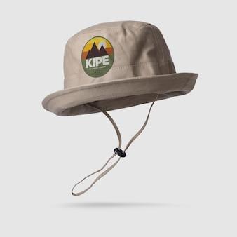 Płótno wiadro kapelusz makieta na białym tle