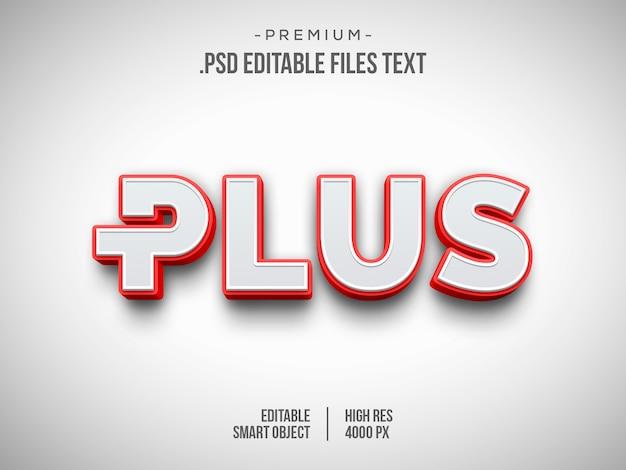 Plus efekt tekstowy 3d, efekt stylu 3d biały czerwony tekst