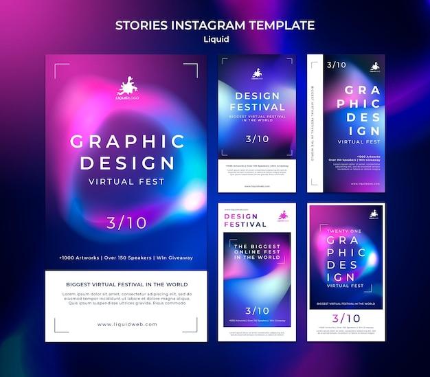 Płynne Historie Na Instagramie Premium Psd