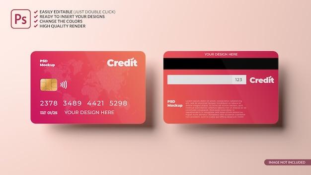 Pływająca makieta projektu karty kredytowej renderowanie 3d