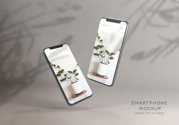 Pływająca minimalistyczna makieta smartfona