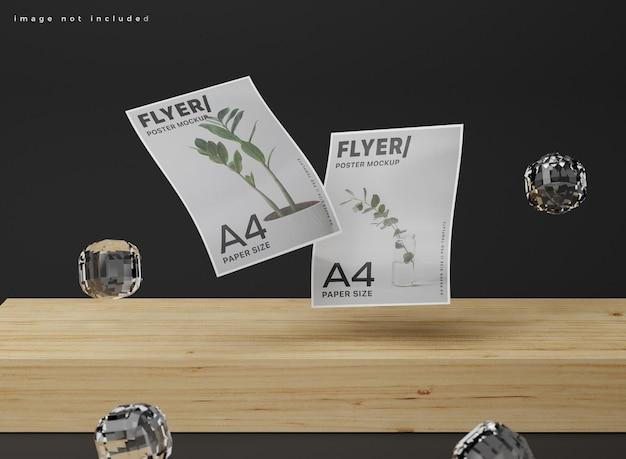 Pływająca realistyczna makieta plakatu a4.