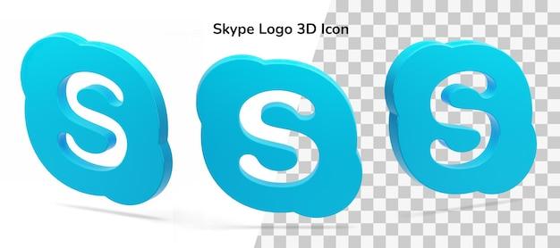 Pływające logo skype 3d ikona zasób na białym tle psd