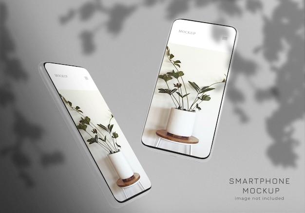 Pływające minimalistyczny szablon makieta smartfonu