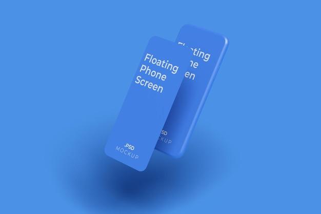 Pływający ekran telefonu makieta w stylu gliny