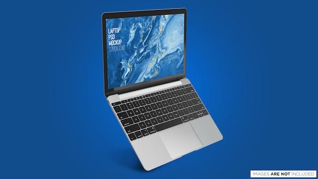 Pływający otwarty macbook pro psd mockup