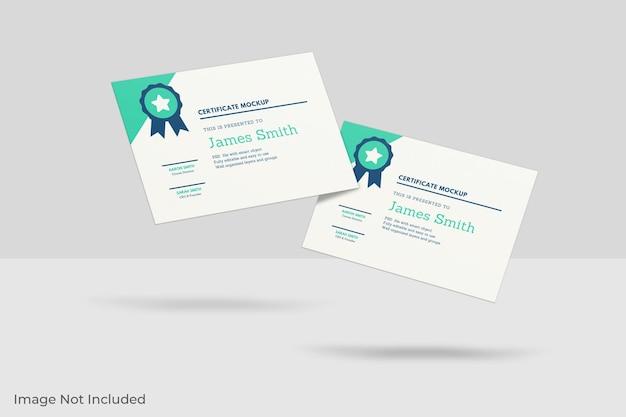 Pływający projekt makiety certyfikatu