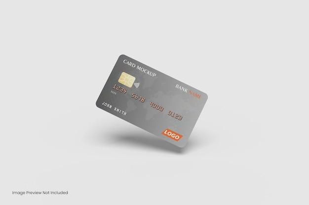Pływający projekt makiety karty kredytowej renderowania 3d