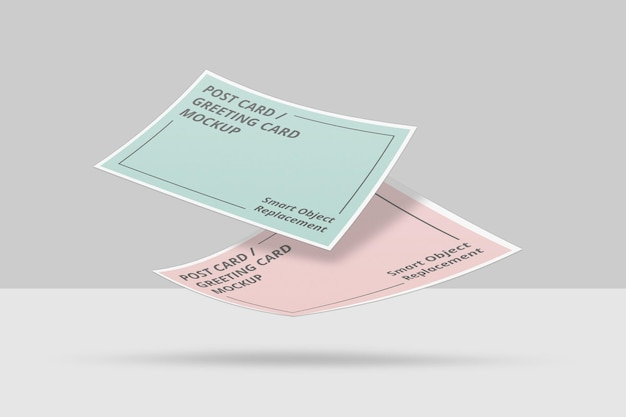 Pływający projekt makiety zaproszenia lub pocztówki
