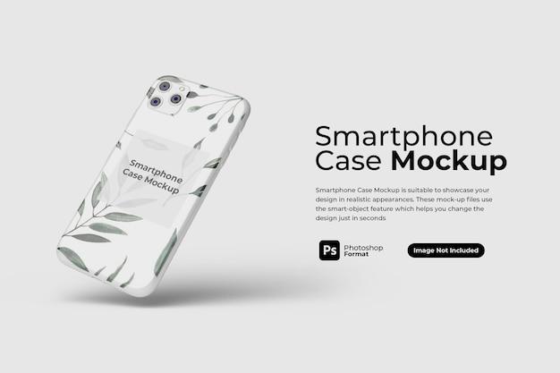 Pływający projekt obudowy smartfona na białym tle
