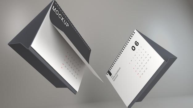 Pływający realistyczny krajobraz biurkowy kalendarz makieta projektu