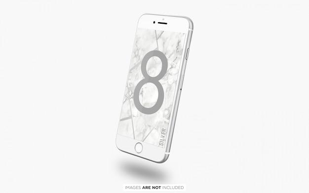 Pływający srebrny iphone 8 psd makieta