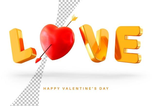 Pływający styl tekstu miłości z renderowania 3d serca walentynki na białym tle