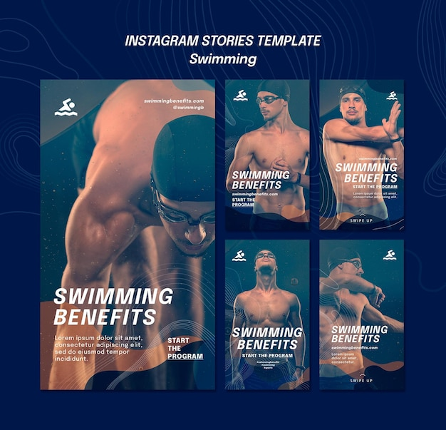 Pływanie korzyści szablon historii na instagramie