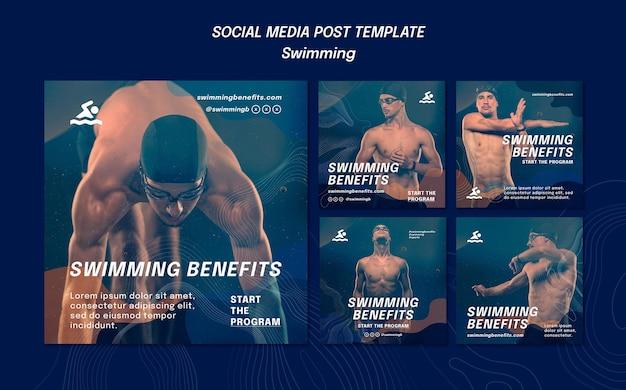 Pływanie korzyści szablon postu w mediach społecznościowych
