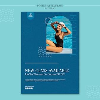 Pływanie plakat szablon ze zdjęciem
