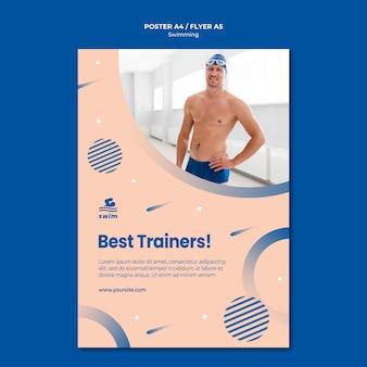 Pływanie szablon plakat najlepszych trenerów