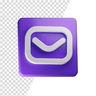 Poczta 3d ikona renderowania koncepcja na białym tle