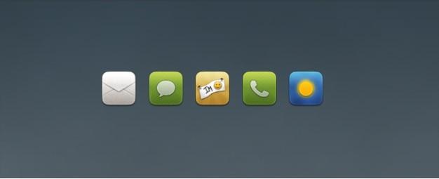 Poczta, czat, telefon, ikony wymiana pogoda