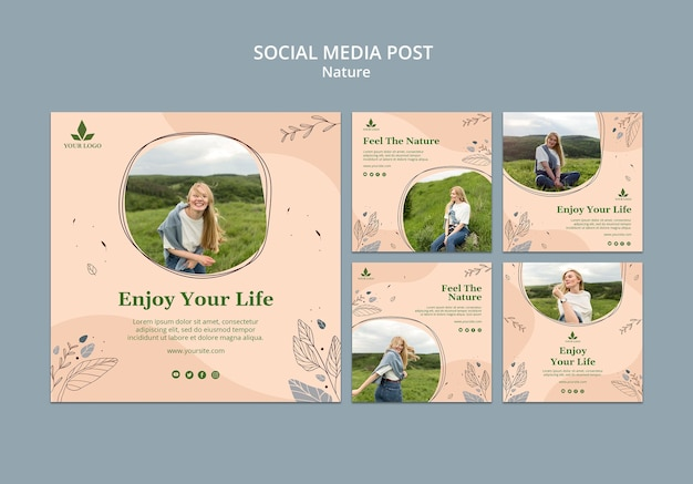 Poczuj naturę szablonu postu w mediach społecznościowych