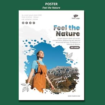 Poczuj plakat szablon natury