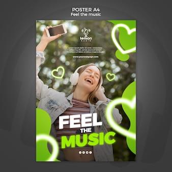 Poczuj szablon plakatu koncepcyjnego muzyki