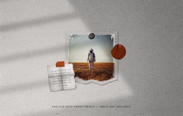 Podarta makieta ramki na zdjęcia z polaroidu z plastikową folią i papierową notatką