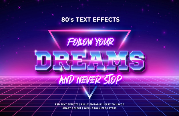 Podążaj za marzeniami efekt stylu tekstu 3d