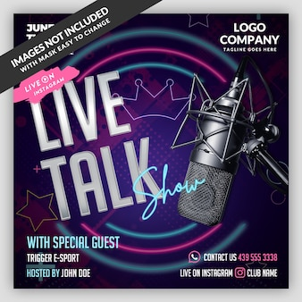 Podcast live flyer banner szablon mediów społecznościowych