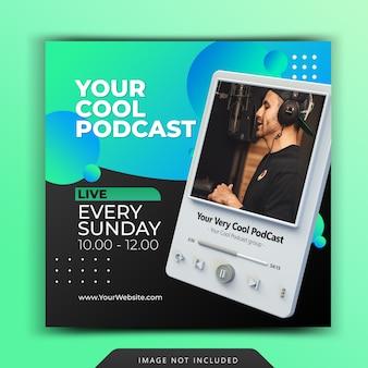 Podcast promocja chanel dla szablonu posta na instagramie w mediach społecznościowych