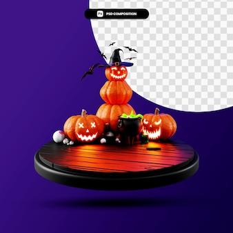 Podium halloween scena 3d render ilustracja na białym tle