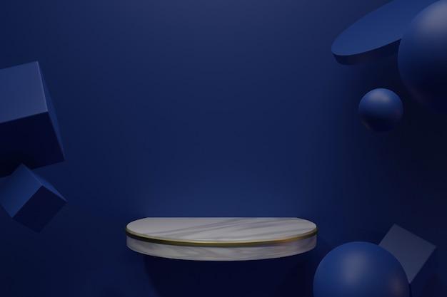 Podium lub platforma w pokoju w minimalistycznym stylu